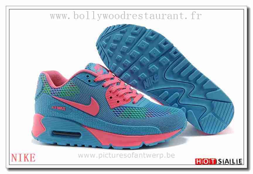 WC1096 Pas Cher 2018 Nouveau style Nike Air Max 90 - Femme Chaussures - Bleu Promotions Vente - H.K.Y.&662 - Taille : 36~39