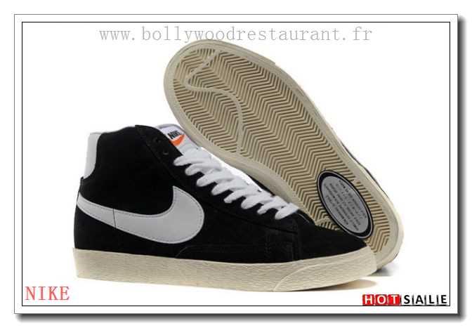 half off 075d2 d3574 VP9171 Haut De Gamme Nike Blazer Suede High Vintage Noir blanc 2018 Nouveau  style Soldes -
